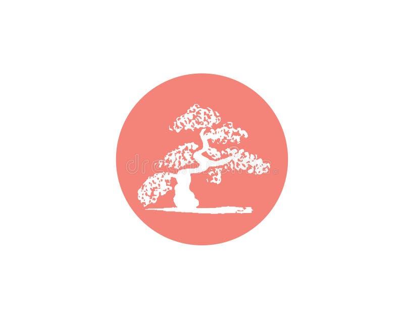 Japansk flagga för vektor med konturn av bonsai vektor illustrationer