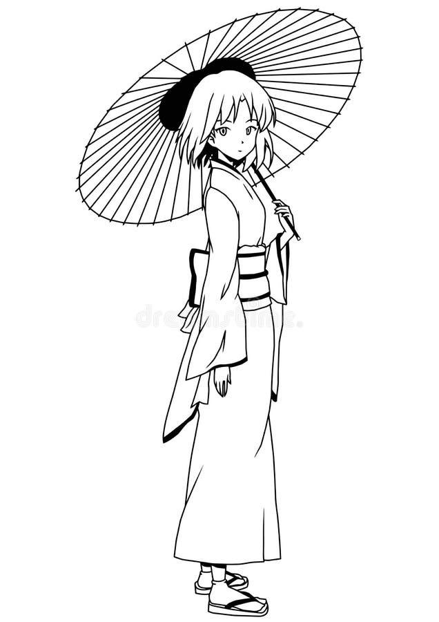 Japansk flicka i kimono med paraplyet vektor illustrationer
