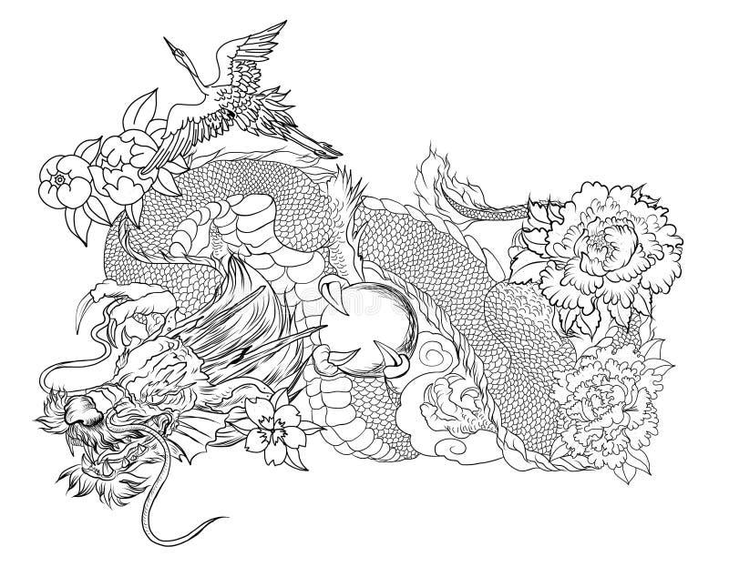 Japansk gammal drake- och hägertatuering Hand dragen drake med för pion rosa och för för krysantemumblomma och vatten färgstänk f royaltyfri illustrationer