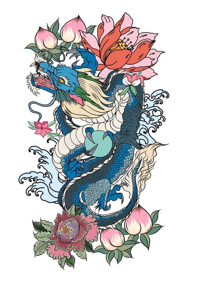 Japansk gammal draketatuering för arm Hand dragen drake med för pion rosa och för för krysantemumblomma och vatten färgstänk för  royaltyfri illustrationer