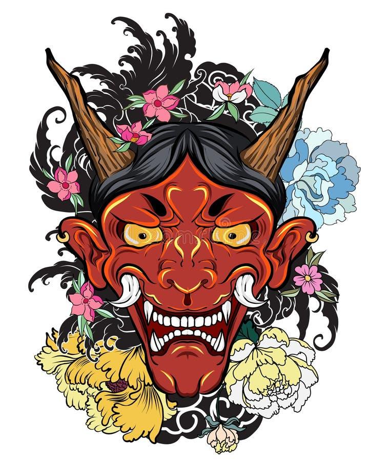 Japansk gammal draketatuering för arm handen drog Oni maskeringen med den körsbärsröda blomningen och pionen blommar Japansk demo stock illustrationer