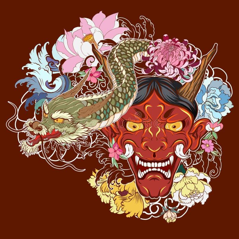 Japansk gammal draketatuering för arm handen drog Oni maskeringen med den körsbärsröda blomningen och pionen blommar Japansk demo vektor illustrationer