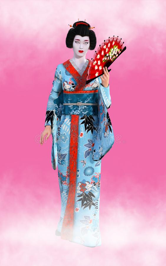 Japansk Geisha Woman Wallpaper Background vektor illustrationer