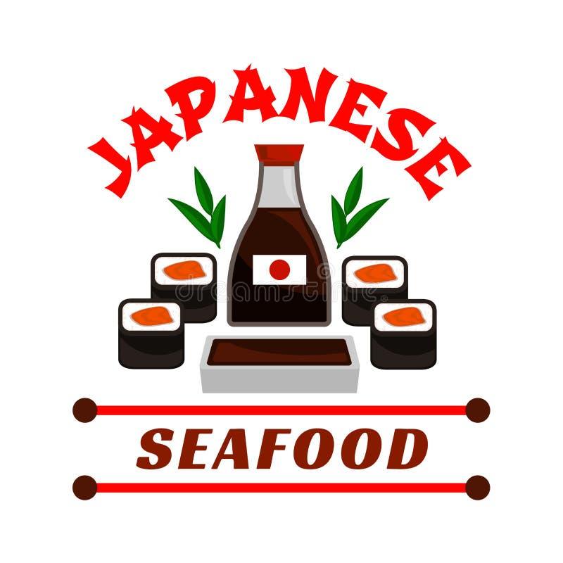 Japansk havs- restaurangsymbol Sushi och sås stock illustrationer