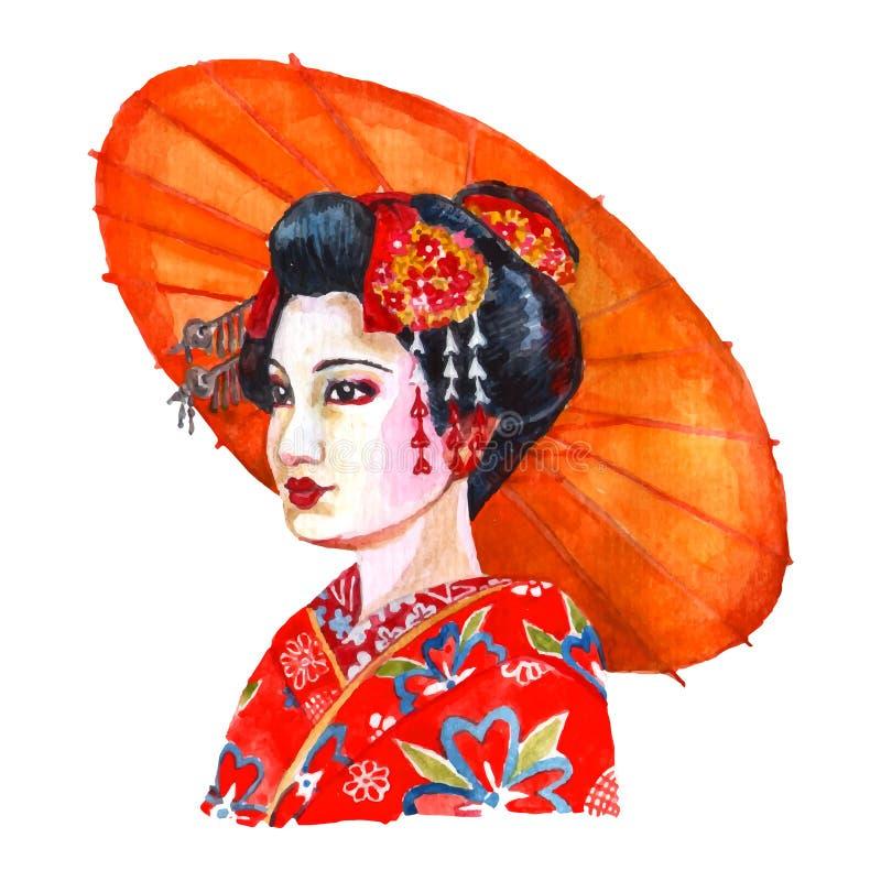 Japansk illustration för kvinnaståendevattenfärg vektor illustrationer