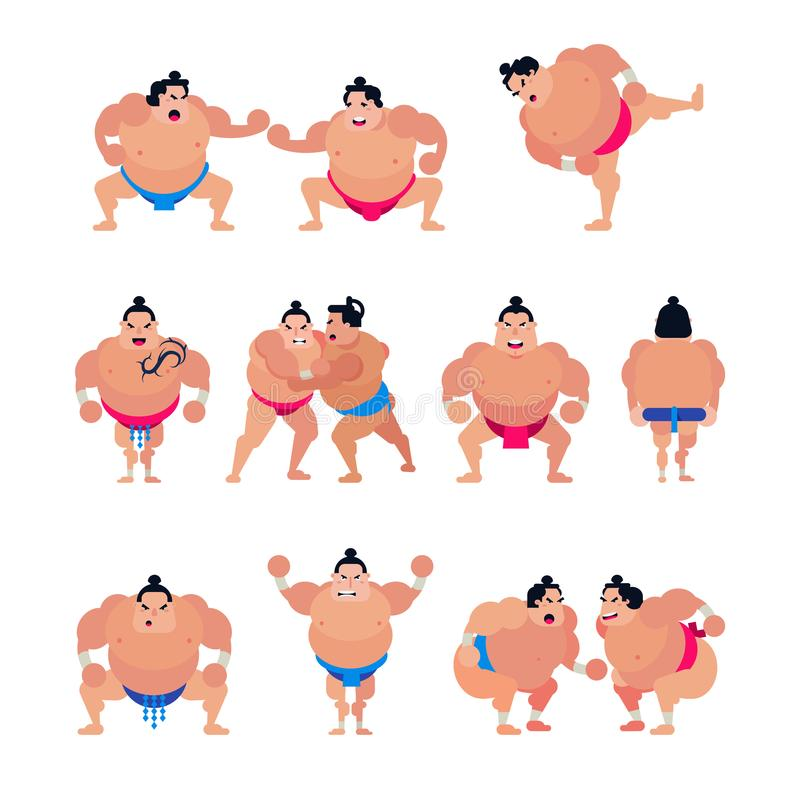 Japansk kämpe för Sumovektor eller sumowrestlertecken av den traditionella sporten i Japan illustrationuppsättning av stridighetf vektor illustrationer