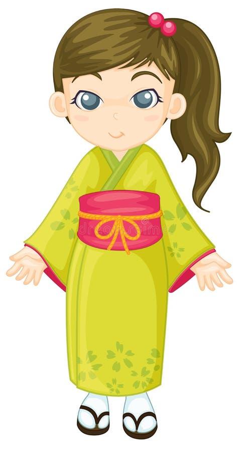 japansk kimono stock illustrationer
