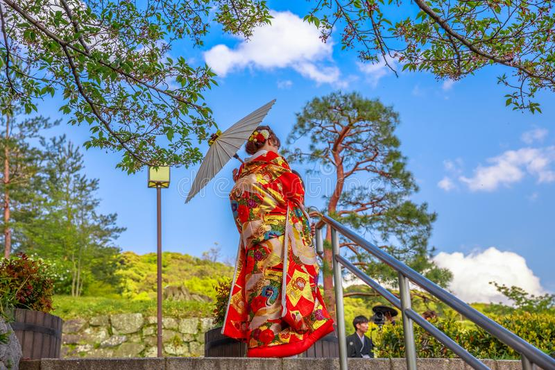 japansk kimonokvinna arkivfoto