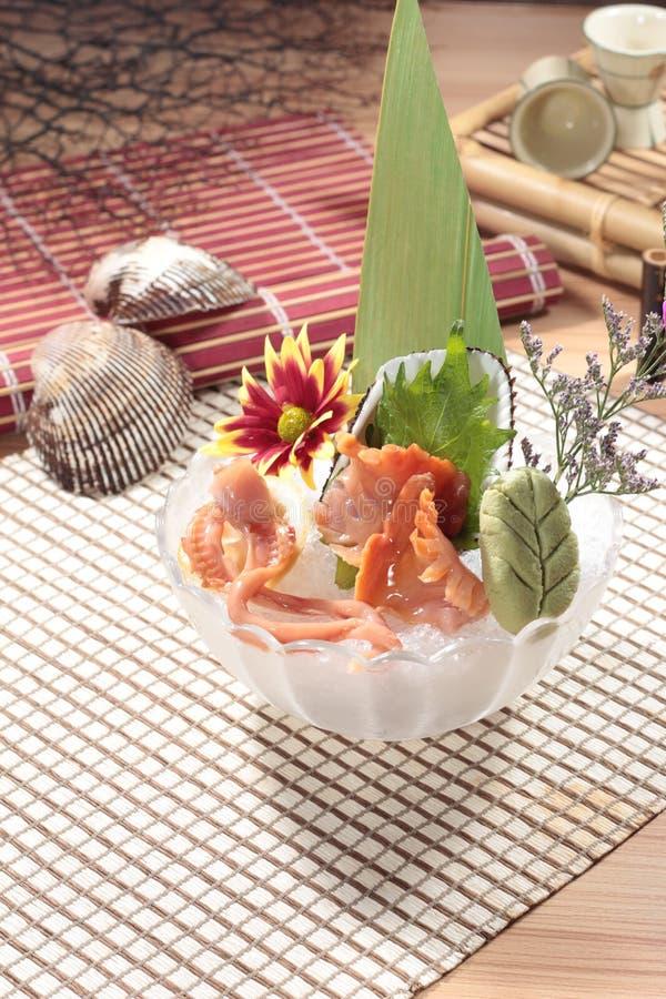 Japansk kokkonst av sashimien arkivbild