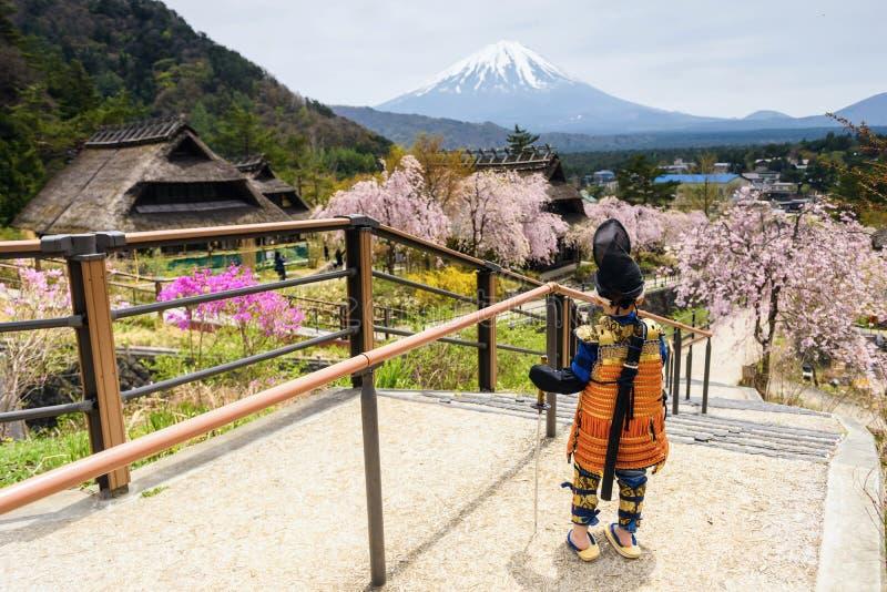 Japansk krigarepojke med sakura och mt fuji arkivbild