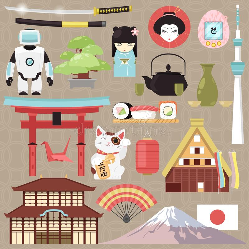Japansk kultur för Japan vektor och arkitektur eller orientalisk kokkonstsushi i Tokyo illustrationuppsättning av Japanization stock illustrationer