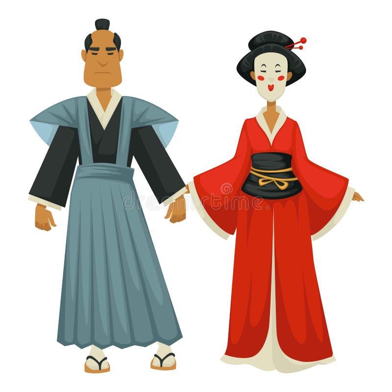 Japansk man och kvinna i traditionell bekläda samurajer och geisha royaltyfri illustrationer