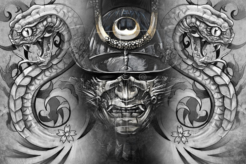 Japansk maskering och ormar. Tatueringdesign vektor illustrationer