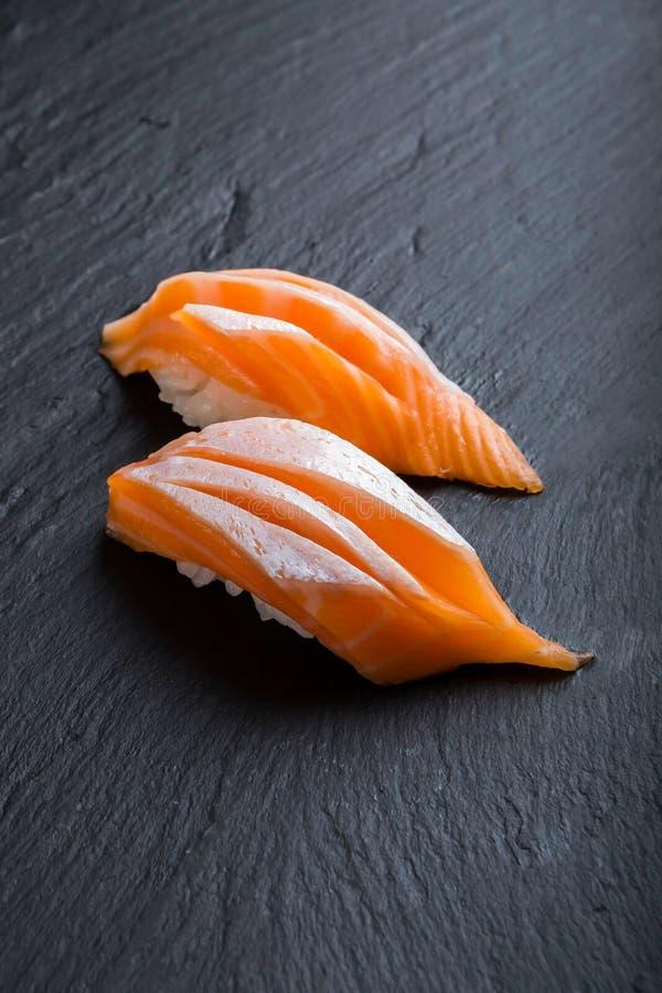 Japansk matmeny, sushi Salmon Toro arkivbilder