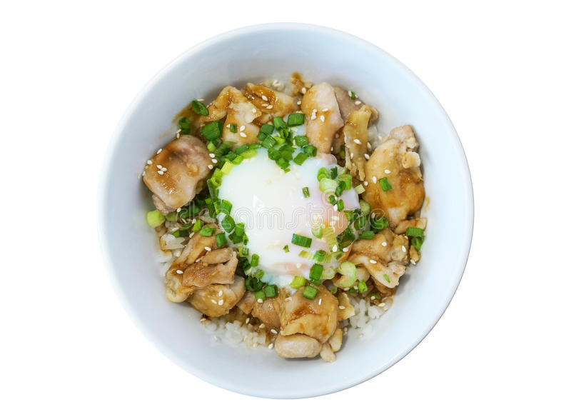 Japansk matslyle för närbild, grillat fegt teriyakiris med det stekte ägget som isoleras på vit bakgrund royaltyfri fotografi