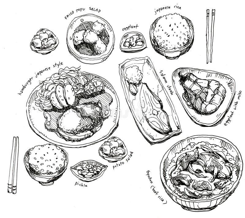 Japansk matuppsättning royaltyfri illustrationer