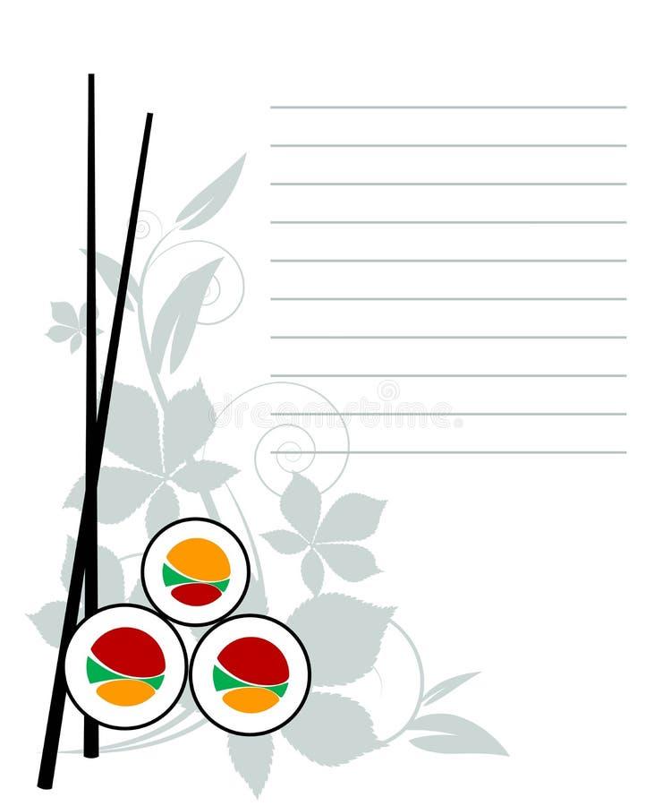 japansk menyrestaurang royaltyfri illustrationer