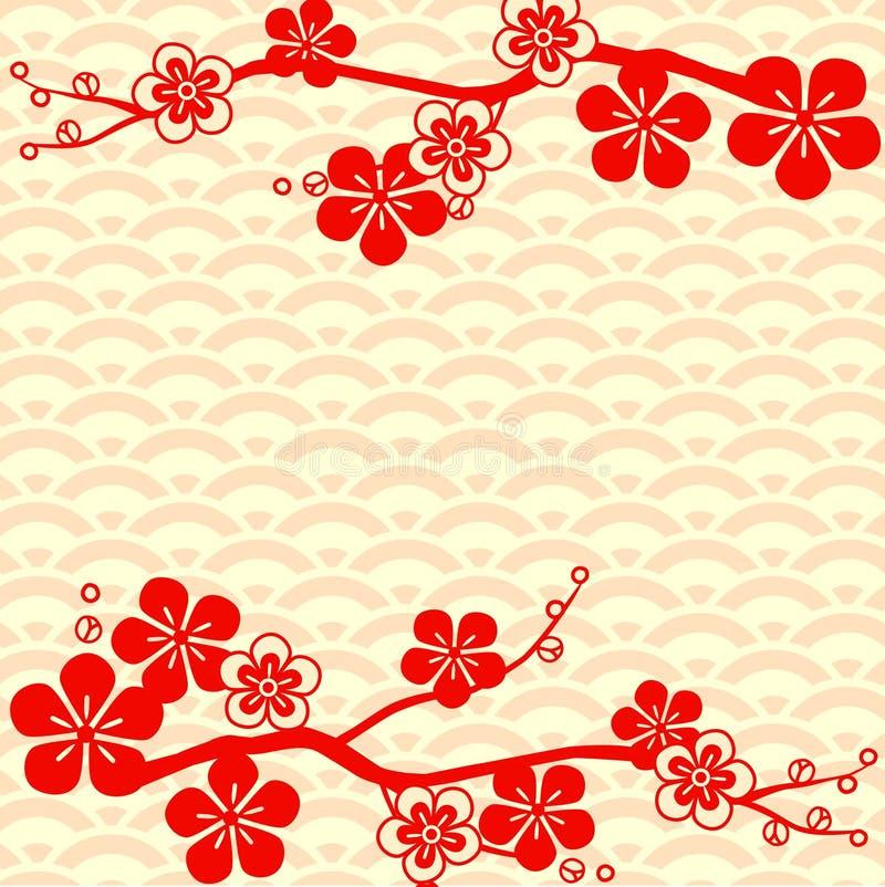 japansk modell Körsbärsröd blomning Prydnad med orientaliska motiv vektor royaltyfri illustrationer