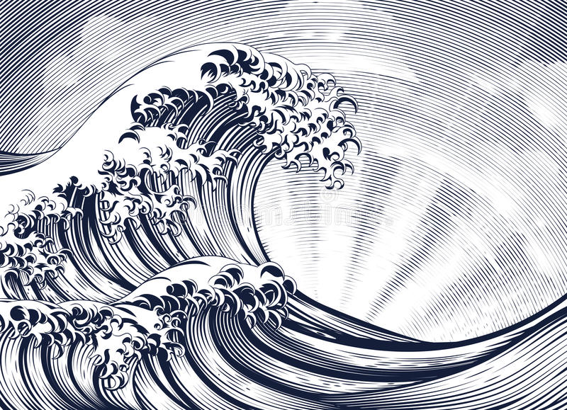 Japansk orientalisk inristad träsnitt för våg etsning vektor illustrationer