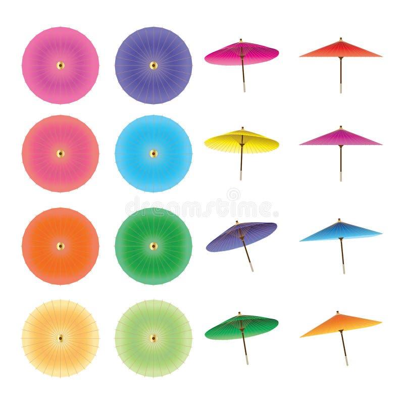 Japansk paraplycirkeluppsättning vektor illustrationer