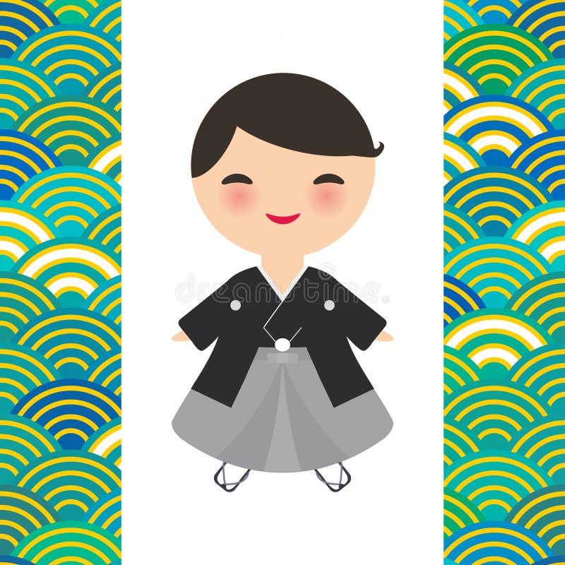 Japansk pojke i nationell dräkt kimono tecknad filmbarn i traditionell klänning Blått för modell för Japan vågcirkel orange gröna vektor illustrationer