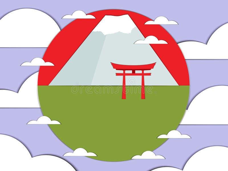 Japansk port på en bakgrund av berg Vektorillustration av papper stock illustrationer