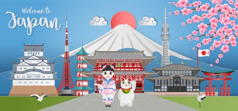 Japansk resebanderoll med Himeji castle, Asakuza Sensoji, Sensoji Temple, Itsukushima Shrine, Tokyo Tower royaltyfri illustrationer