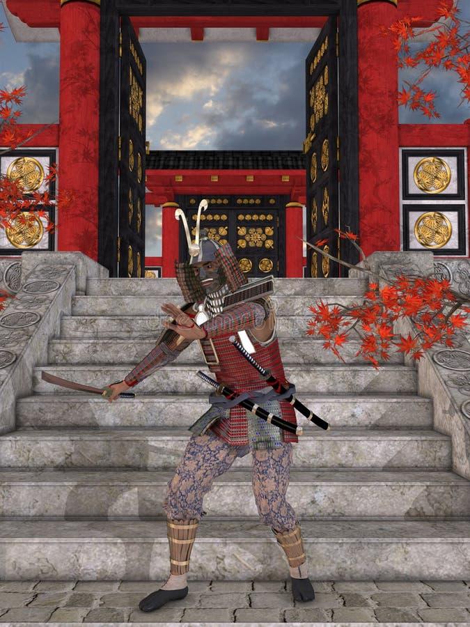 japansk samurai vektor illustrationer