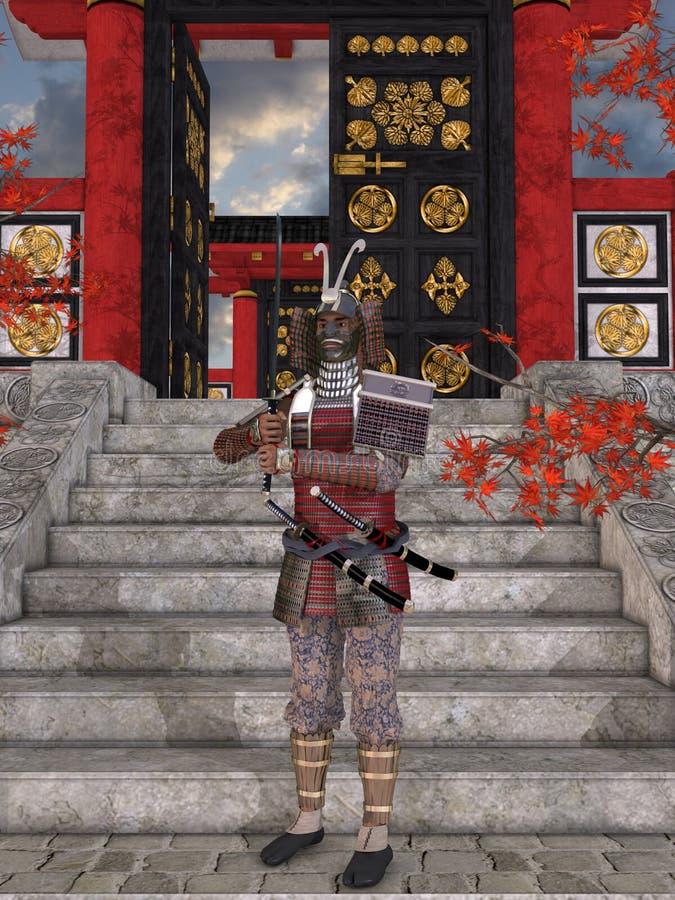 Japansk Samurai stock illustrationer