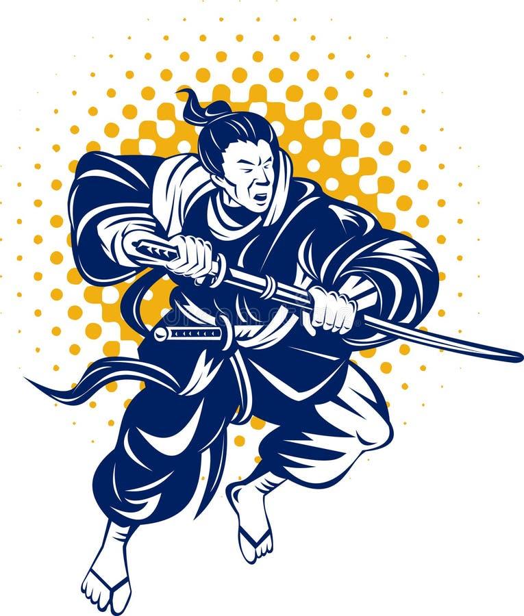 japansk samuraikrigare vektor illustrationer