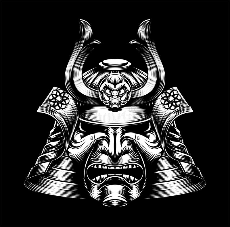 Japansk samurajmaskering royaltyfri illustrationer