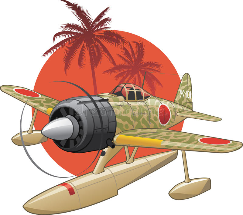 japansk seaplane ww2 royaltyfri illustrationer