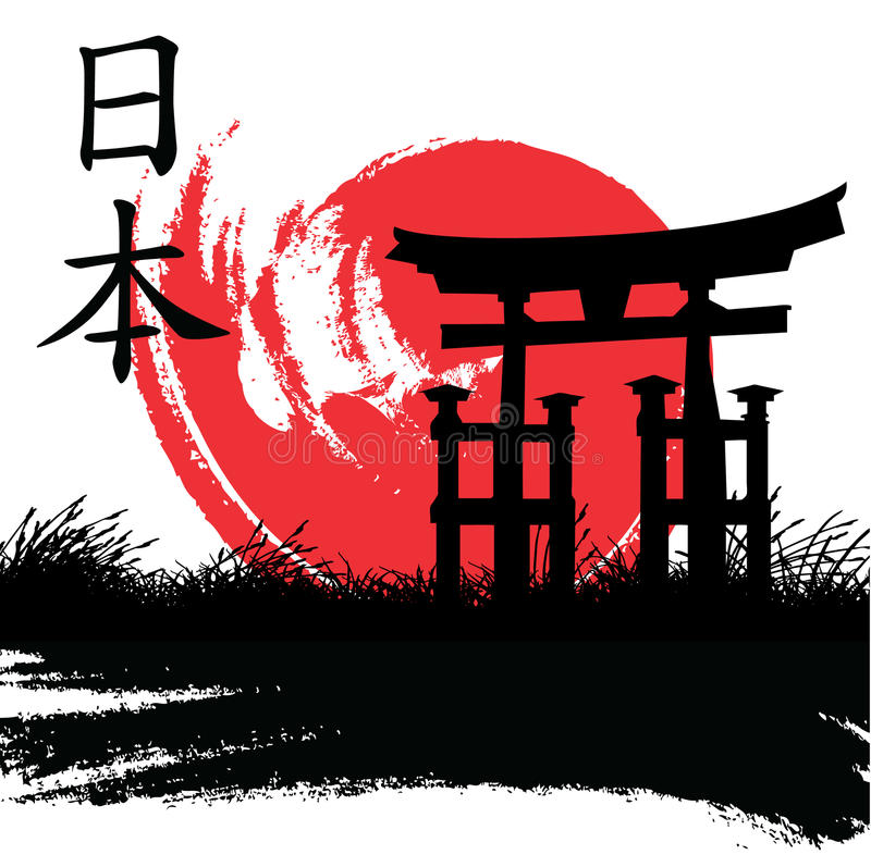 japansk stil stock illustrationer