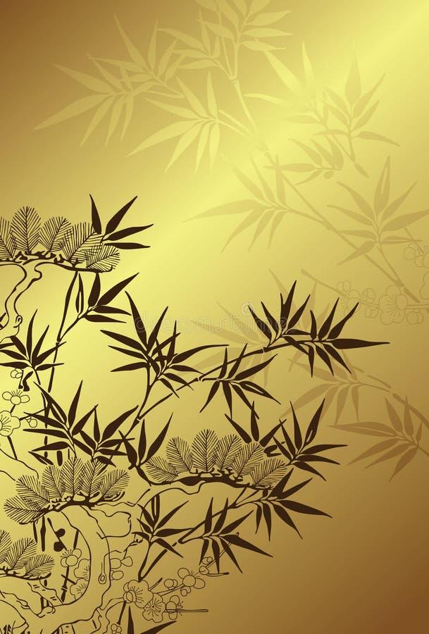 japansk stiltree för bakgrund stock illustrationer