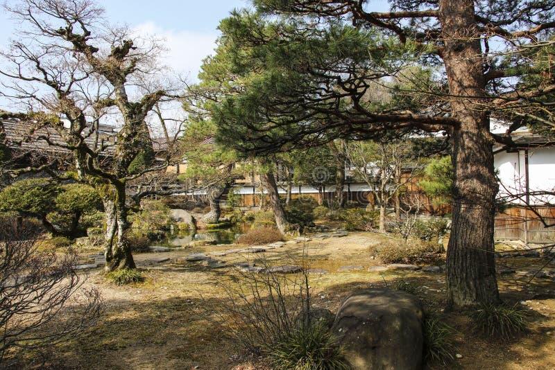 Japansk trädgård i den nationella historiska platsen Takayama Jinya, Takayama, Japan fotografering för bildbyråer