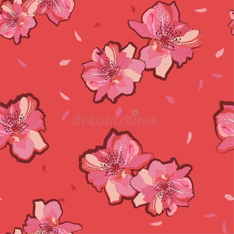 Japansk trädgård röda blomma sakura för sommar eller för körsbärsröd blomning blommor seamless vektor för modell Illustration för stock illustrationer
