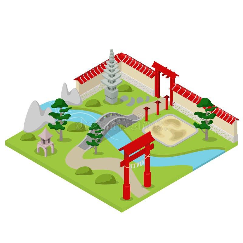 Japansk trädgårds- vektor för lägenhet 3d för stadsbyggnadsbonsai isometrisk royaltyfri illustrationer