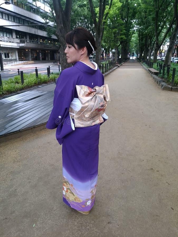 Japansk traditionell kimonobaksida royaltyfria foton