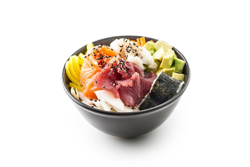 Japansk universitetslärare för matblandningchirashi med laxen och tonfisk för havsfisk royaltyfria foton