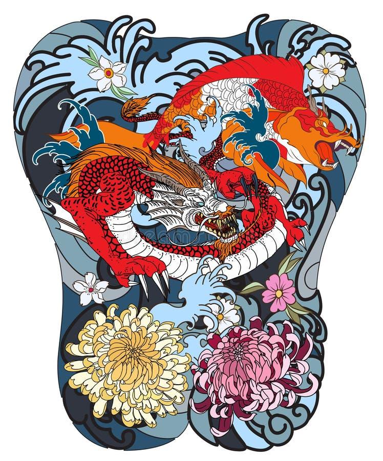 Japansk våg för tatuering hand dragen drake- och koifisk med blommatatueringen för baksida vektor illustrationer