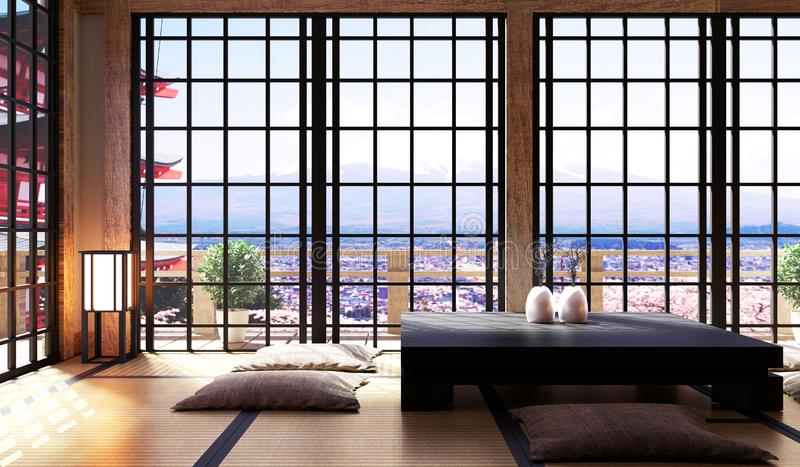 Japansk vardagsruminre i minsta design för vardagsrum, bonsai, låg tabell på mattt för golvtatami, siktsfuji berg 3d royaltyfri illustrationer