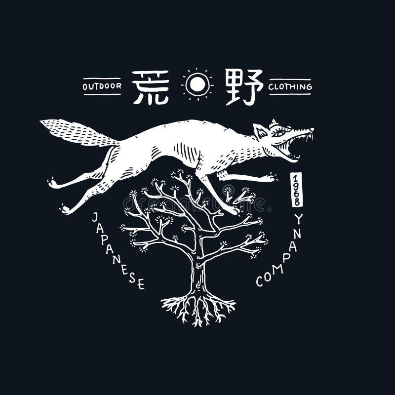 Japansk varg med hieroglyf Asiatiskt djur i tappningstil Affisch- eller tryckmall för design tecknad hand inristat vektor illustrationer