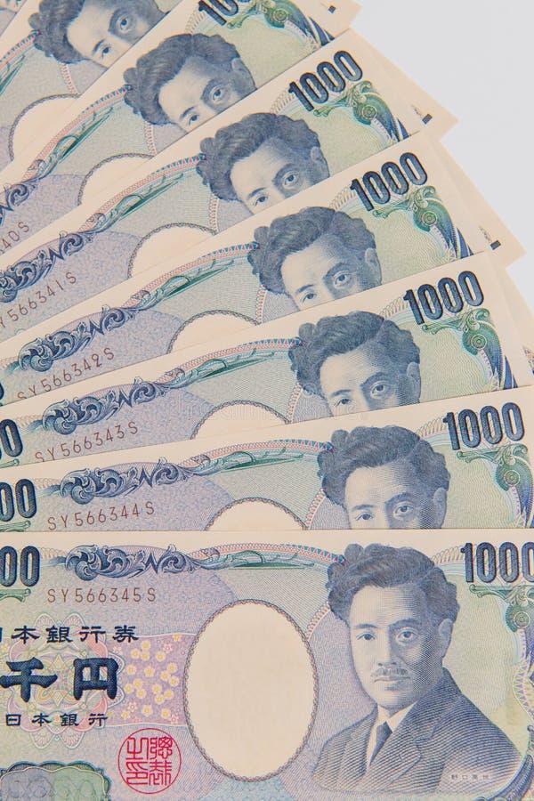 Japansk yen, yen 1000 på vit bakgrund, japansk valutayenbank royaltyfri bild