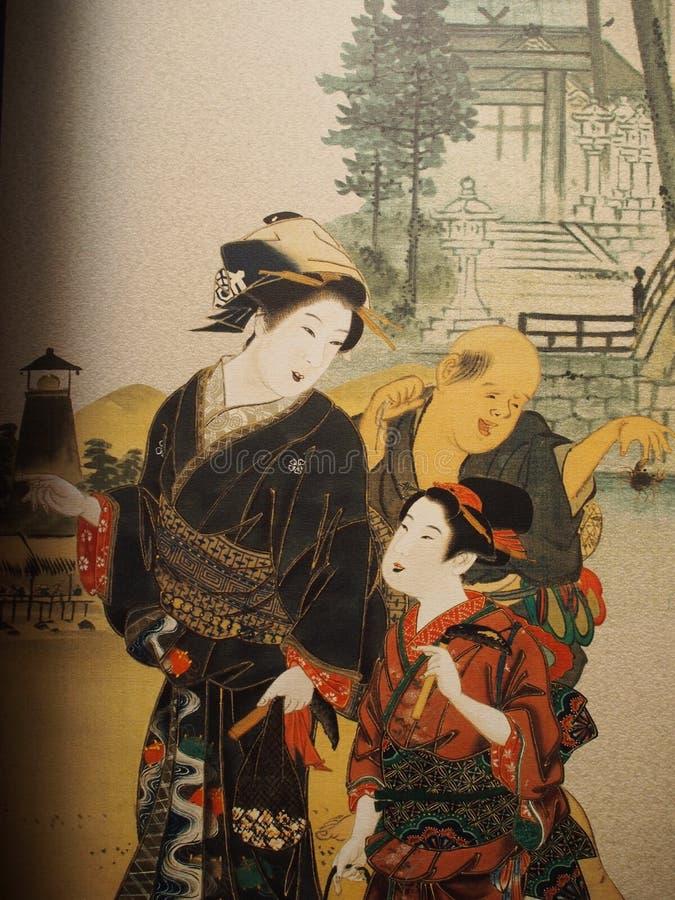Japanska Art Painting Japan Travel royaltyfria bilder