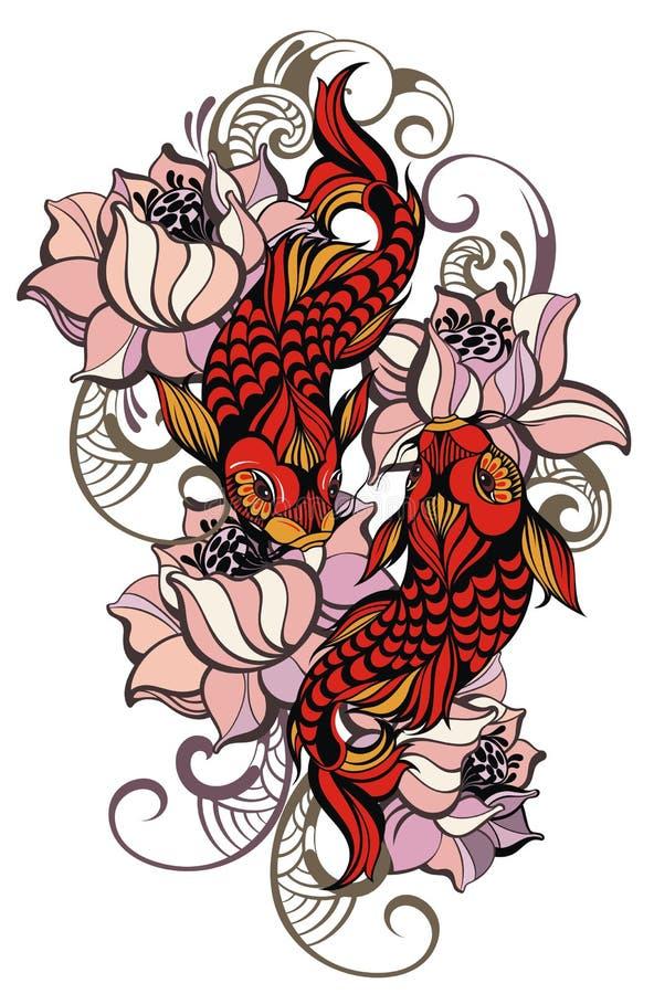 japanska carps stock illustrationer
