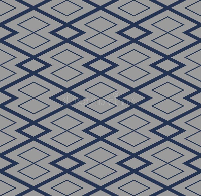Japanska Diamond Shaped Quadrangle Seamless Pattern stock illustrationer