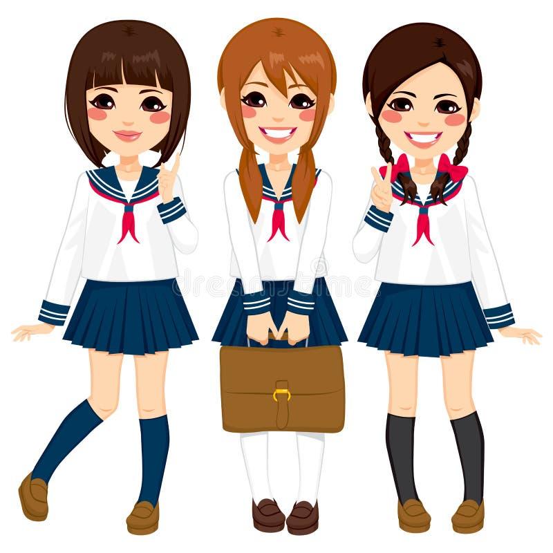 Japanska enhetliga skolaflickor vektor illustrationer