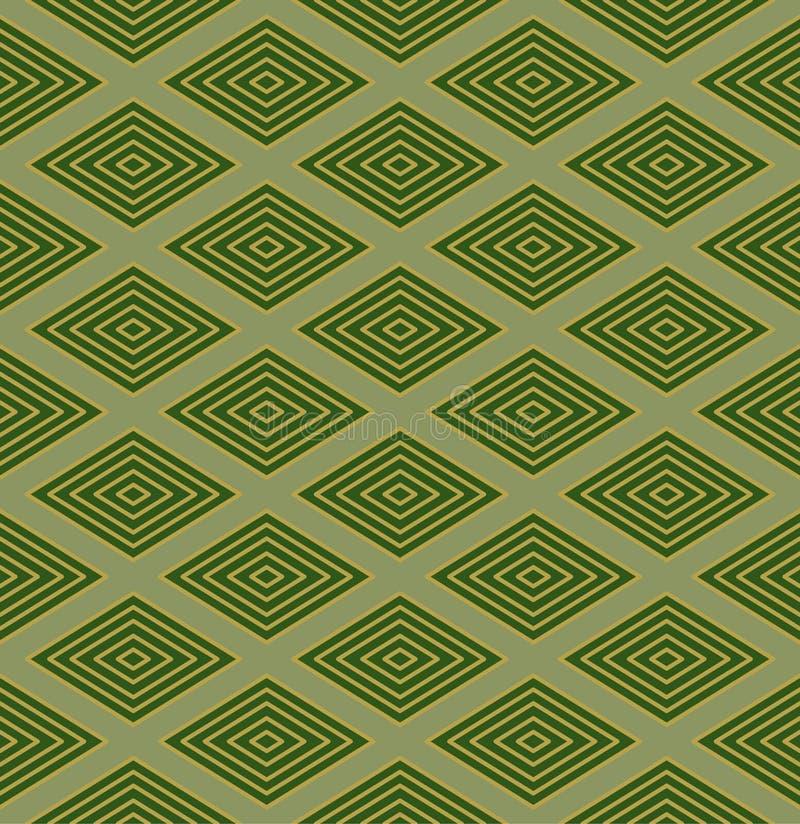 Japanska gröna guld- Diamond Seamless Pattern royaltyfri illustrationer