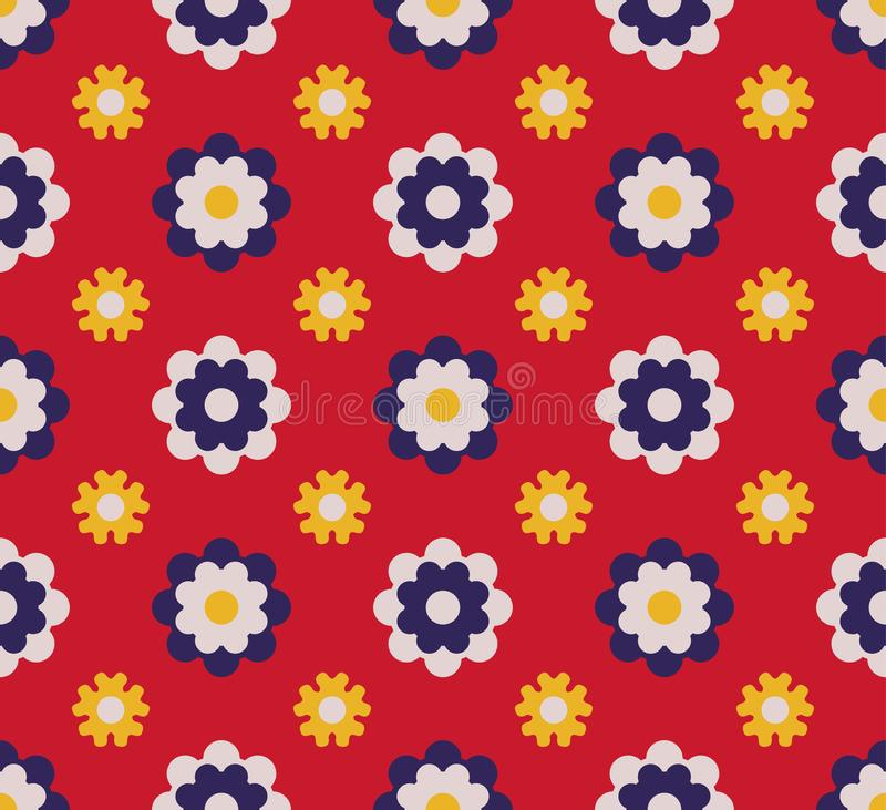 Japanska gulliga Dot Flower Pattern stock illustrationer