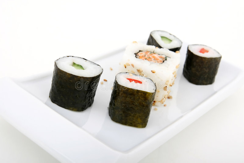 japanska havs- sushi royaltyfria foton
